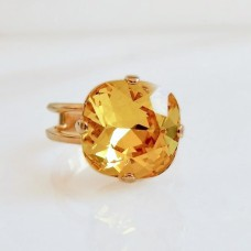 Citrine yellow crystal cocktail ring
