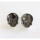 Crystal skull earrings in silver