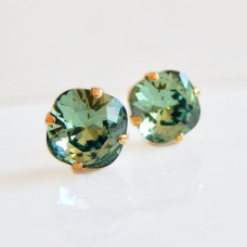 Dark green crystal crystal square stone earrings