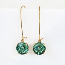 Dark green round drop crystal earrings