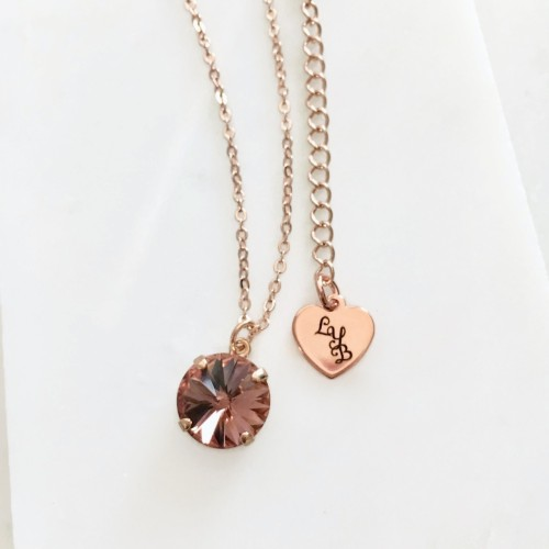 Round blush crystal pendant round blush crystal necklace mozeypictures Gallery