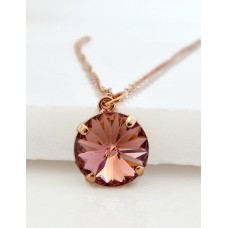 Round blush crystal necklace