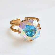 Gold clear ab crystal cocktail ring