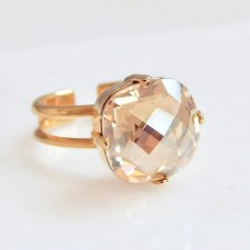 Gold crystal cocktail ring
