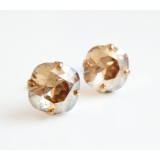 Golden shadow crystal stud earrings