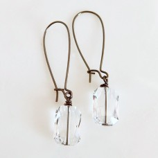 Gunmetal and clear emerald cut earrings