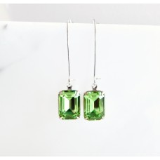 Peridot green octagon long drop earrings