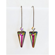 Rainbow crystal spike earrings