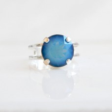 Round blue opal ring with Swarovski Crystals