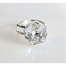 Clear crystal cushion cut ring