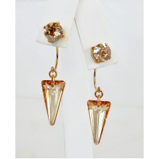 Gold spike crystal earring jackets and posts