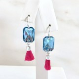 Pink and blue tassel earrings with Swarovski crystal