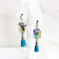 Clear and blue tassel earrings with Swarovski crystal