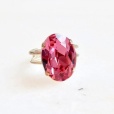 Pink oval crystal cocktail ring