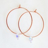 Rose gold clear ab hoop earrings