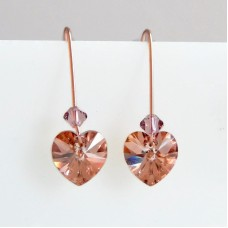 Crystal heart earrings in rose gold