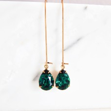 Emerald green long pear shape earrings