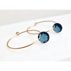 Dark blue crystal hoop earrings