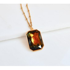 Large Gold Swarovski Pendant Necklace