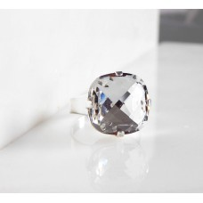Large clear crystal cushion cut ring