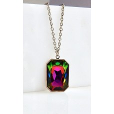 Rainbow large crystal pendant in silver