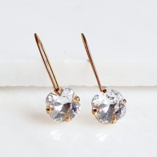 Long clear crystal earrings on gold earwires
