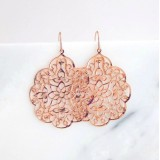 Rose gold boho filigree earrings