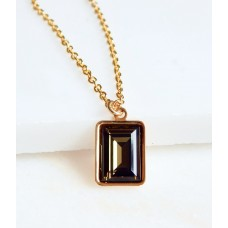 Smoky quartz crystal emerald cut pendant