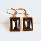 Smoky quartz SWAROVSKI crystal earrings