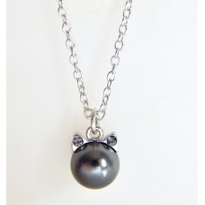 Kitty Cat Pearl Charm Necklace black pearl SWAROVSKI®