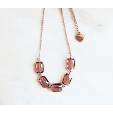 Blush and rose gold crystal statement necklace