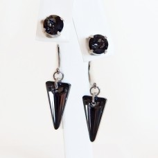 Black spike crystal earring jackets and posts