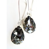 Black crystal night crystal pear earrings