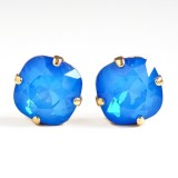 Blue opal crystal crystal square stone earrings