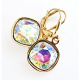 Clear ab crystal square stone lever back earrings
