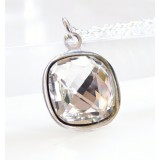 Clear square stone crystal drop necklace II