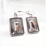 Clear crystal emerald cut earrings