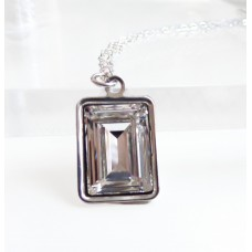 Clear crystal emerald cut pendant
