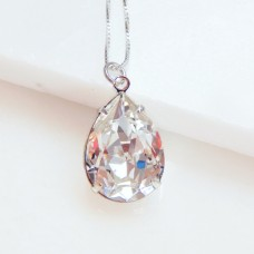 Clear crystal large pear pendant on sterling silver