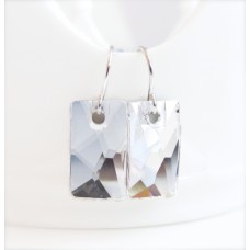 Clear rectangle crystal earrings