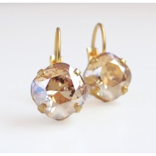 Golden shadow square crystal leverback earrings