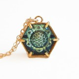 Dark green hexagon crystal necklace
