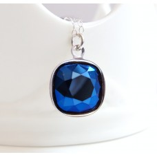 Metallic blue crystal pendant