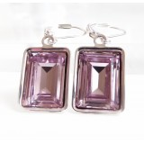 Lavender light amethyst emerald cut crystal earrings