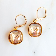 Golden shadow crystal square stone earrings II gold