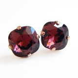 Marsala square crystal stud earrings