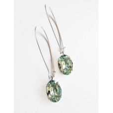 Mint chrysolite green oval long drop earrings