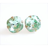 Mint chrysolite green crystal square stud post earrings