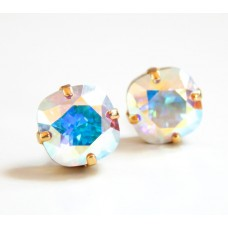 Clear ab square hologram earrings - made with swarovski crystals