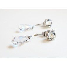 Clear crystal earring jackets and posts